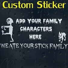 Zombie Custom Decal Vinyl Sticker With Your Family Characters Or Text Or Names