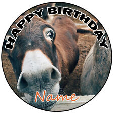 "Personalised Donkey Birthday Cake Topper Decoration 8"" Round Icing Edible"