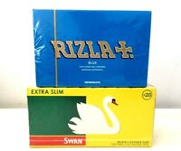 NEW 1200 RIZLA BLUE ROLLING PAPERS & 1200 SWAN EXTRA SLIM FILTER TIPS UK BRAND
