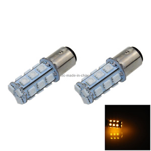 2x Yellow AUTO 1157 Brake Lamp Reversing Light 18 5050 SMD LED 1016 1034 E004