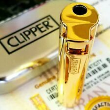 24k Gold Plated Metal Electronic Clipper Lighter Turbo Jet Gas Cigarette Boxed