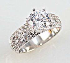 Elegant Woman Round Cut 2.25ct White Sapphire 925 Silver Wedding Ring Size  7