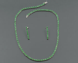 5X3MM Natural Green Emerald Gemstone 925 Solid Silver Tennis Necklace & Earring