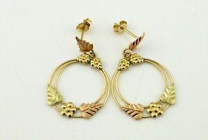 Vintage Black Hills 14K Multi Color Solid Gold Dangle Earrings Not Scrap