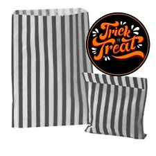 26 Trick or Treat Stickers & 26 Black Striped Bags for Halloween Party Bags Gift