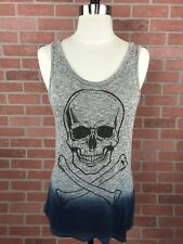 Hot Topic Women's Medium Knit Tank Long Ombre Grey Blue Black Skull Print