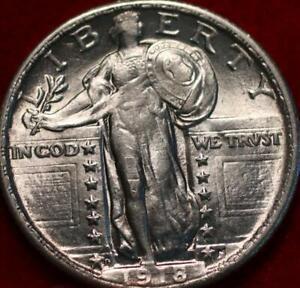 Uncirculated 1918-D Denver Mint Silver Standing Liberty Quarter