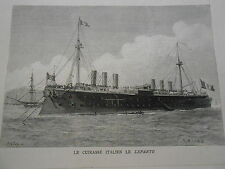 Gravure 1883 - Le Cuirassé Italien Le Lepanto