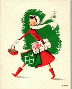 Unused White and Wyckoff Shop Gift Pretty Girl Lady VTG Christmas Greeting Card