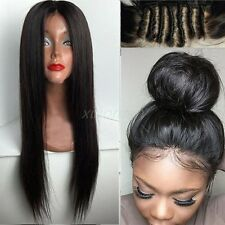 100% Indian Full Lace Front Wigs Natural Black Human Hair Straight Silky Wigs kh