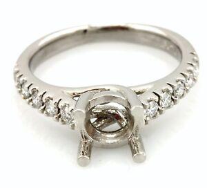 Platinum diamond cathedral engagement ring semi mount criss cross 1ct center NEW
