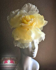 Yellow Headband Fascinator Hat Large Flower Silk Velvet Derby ROYAL ASCOT RACES