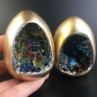 Rainbow Bismuth Ore Egg Quartz Crystal geode Mineral Specimen Reiki Healing 2pcS