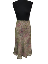 MONSOON Skirt Size 12 Black Pink Green Floral Evening Party Holiday Summer *