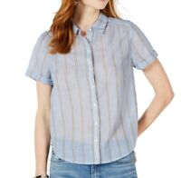Lucky Brand Women's Top Blue Size Small S Button Down Striped Cotton $79 #095