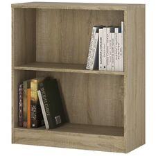 Sonoma Oak Modern Low Wide Bookcase Storage Display Bookshelf Shelving Shelves