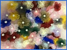 "1"" Organza Flower w/ 5 Petals Pearl Applique Sewing Craft 100 Mixed Colors 1250C"