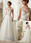 2018 Elegant Long A-line Wedding Dresses Lace Formal Bridal Gowns Beaded Dress