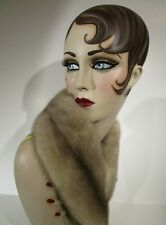 "Vtg Natural AZURENE Mink Fur Scarf Boa Shawl Collar Wrap Powder Gray 35.5"" long"