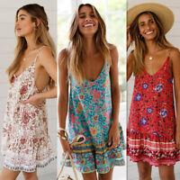 USA Womens Sexy Boho Floral Summer Party Evening Beach Short Mini Dress Sundress
