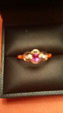 375 9CT YELLOW GOLD RUBY & DIAMOND RING VERY DAINTY.         (72)