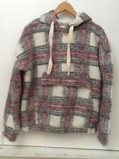 Forever 21 Cream Gray Pink Plaid Wool Blend Hoodie Pullover Jacket Coat NWT S