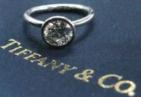 Tiffany & Co Platinum Round Diamond Bezet Set Engagement Ring .92Ct F-VS1
