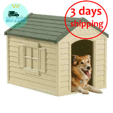 Suncast Indoor & Outdoor Dog House for Small and Medium Breeds, Tan/Green