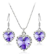 Women Fashion purple Crystal Heart Of Ocean Necklace Earrings Jewelry Set