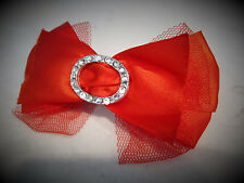Red rockabilly shiny, lacy bow hair clip barrette with swarovski crystals