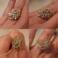1.50 Ct Round Cut Diamond Cluster Engagement Wedding Ring 14K Yellow Gold Over