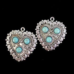 2Pcs Manmade Blue Blue Turquoise Tibetan Silver Heart Pendant Bead M99326