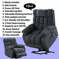 Electric Massage Chair Oversized Lift Recliner Heated Vibration Sofa for Elderly