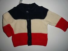 NWT Baby Gap 6-12 Americana Boy's Red/Ivory/Blue Striped Cardigan Sweater New