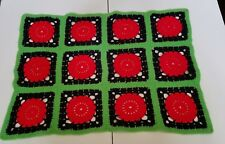 "Green Black Red Baby, Doll, or Pet Blanket 15"" X 30"" Handmade Crocheted Afghan"