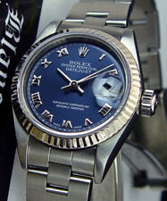 ROLEX Ladies White Gold & Stainless DateJust Blue Roman Oyster 79174 SANT BLANC