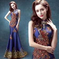 Women's M-XXL Embroidered Blue Cheongsam Mermaid Wedding Party Ball Dress