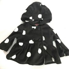 Carters Baby Girls Grey White Polka Dot Hooded Fleece Jacket Size 3 Months