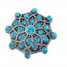 3D Rhinestone Blue Crystal Charm Button Fit For Noosa Bracelets EE JoMacDesigns
