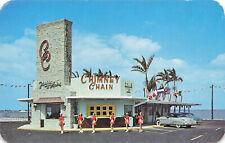 Miami Beach FL Chimney Chain Car Hops Drive-In Restaurant Old Car Postcard