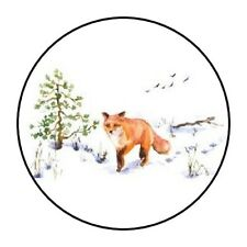 """BEAUTIFUL FOX STICKER LABEL ENVELOPE SEAL PARTY 1.2"""" OR 1.5"""" ROUND"""