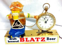 Blatz beer sign clock pocket watch barrel guy lighted chalkware statue light bar