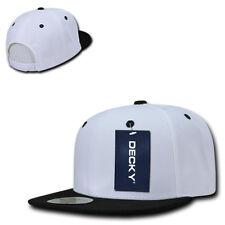 DECKY Flat Bill 6 Panel Snapback Baseball Plain Blank Two Tone Caps Hats Unisex
