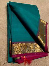India KANCHIPURAM Green Purple SILK SAREE with BLOUSE Fashion Gold ZARI Pattu
