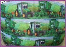 1 Metre, GREEN FARM TRACTOR. 7/8, Ribbon, 22mm, Grosgrain, Fergie, Hair, Bows