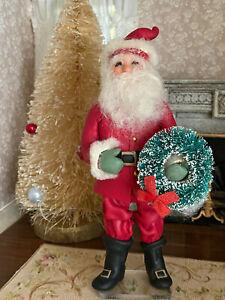 Vintage Miniature Dollhouse 1:12 Artisan Sculpted Christmas Santa Claus Doll