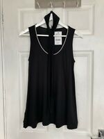 Brand New Next Women's Black Soft Sleeveless Top with Scarf Size 10