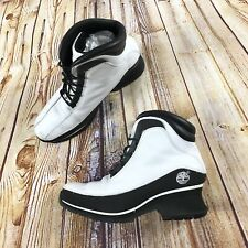 Timberland Women's Black and White Leather Winter Ankle Boots Rare Sz 7