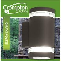 3 x Dark Grey Charcoal Up/Down Outdoor Exterior Wall Lights - 240V GX53