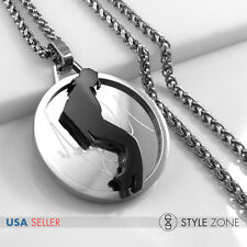 Stainless Steel MICHAEL JACKSON Moonwalk LOGO Round Pendant w Braid Necklace 14J